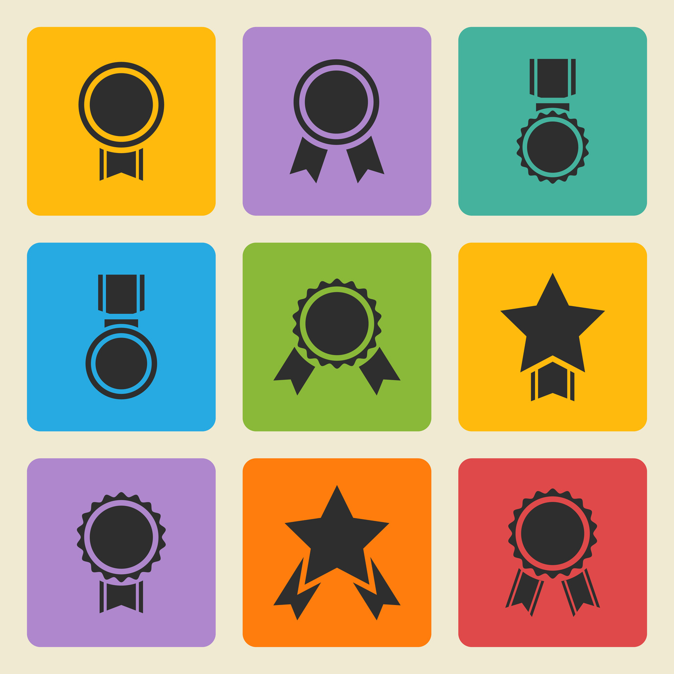 black medal,award icons set on a color square